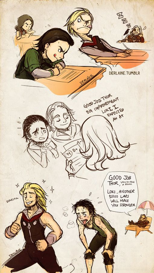 "Thor and Loki as kids. // 2 things: 1st, notice Sif studying in the back! And 2nd, Thor running:  ""beautiful""  :-D"