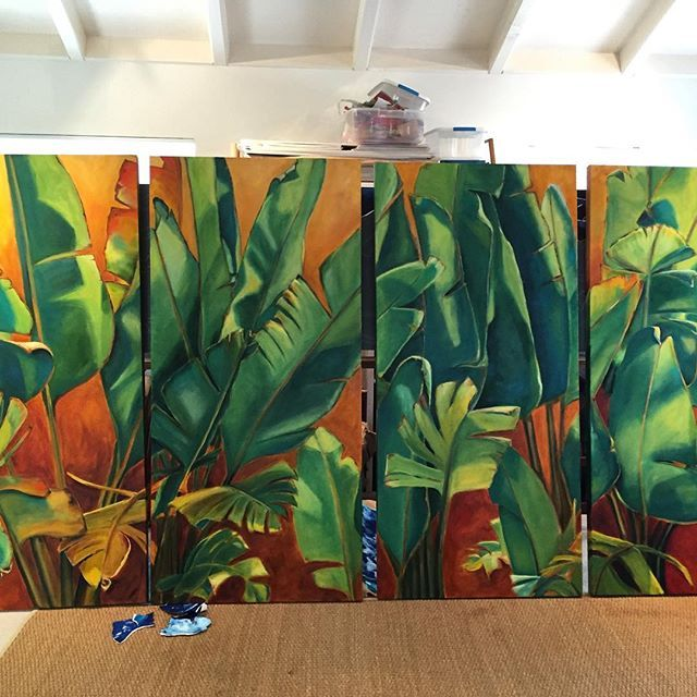 At last, the leaves are done. 4 panels each 3'x6'. Deliver to kukio Monday for installation. #Hawaii #art #tropical #oilpainting #leaves #creative #naturezaperfeita #nature #botanical