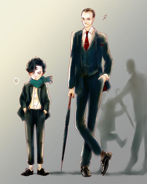 Holmes brothers. (Notice their shadows.) <- this is sweet but heart breaking... :')