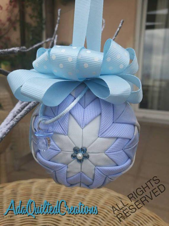 Keepsake quilted newborn boy ornament baby boy quilted ball