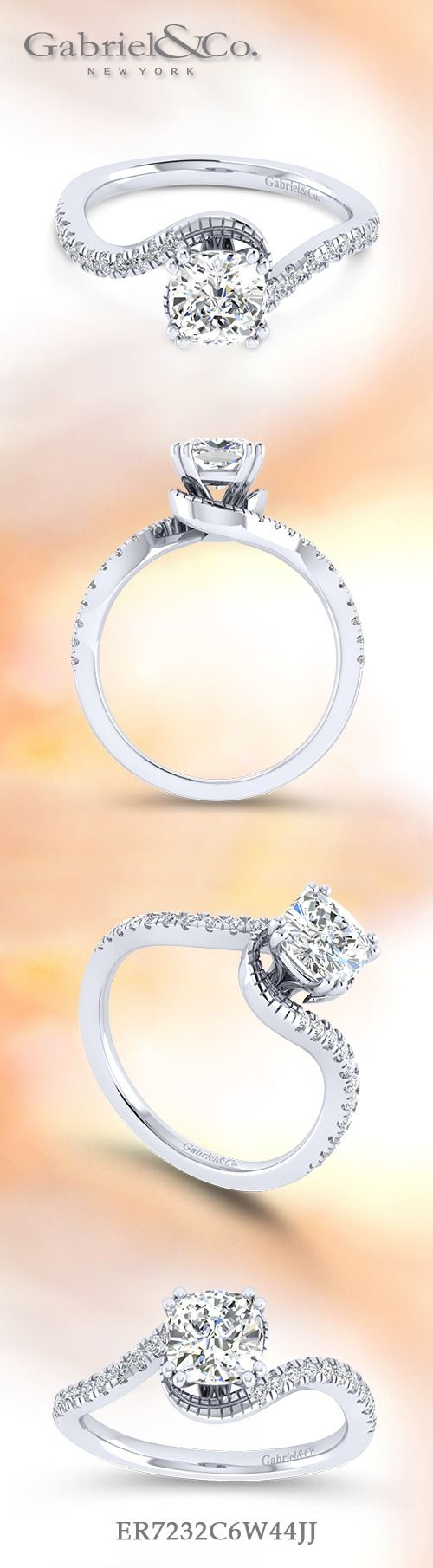 Gabriel NY - Voted #1 Most Preferred Fine Jewelry and Bridal Brand. 14k White Gold Cushion Cut Bypass  Engagement Ring