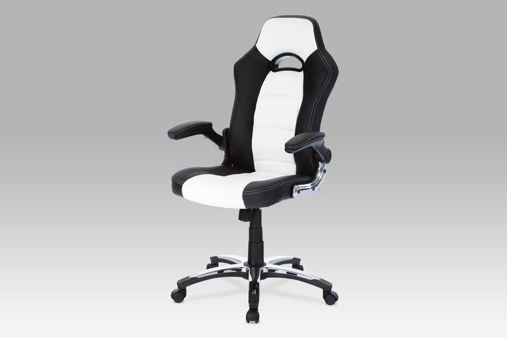 KA-N238 WTB Kancelářská židle, koženka bílo-černá, houpací mechanismus
