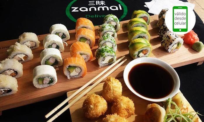 Tabla de 40 piezas de sushi + 10 piezas tempura en carta abierta en Zanmai