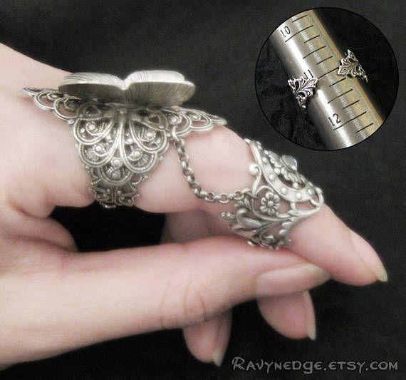 Toque de hada  latón mariposa armadura anillo joyería de