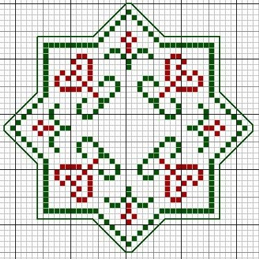Christmas Biscornu Stack • 3/5 Chart for 3rd size [45st x 45st]