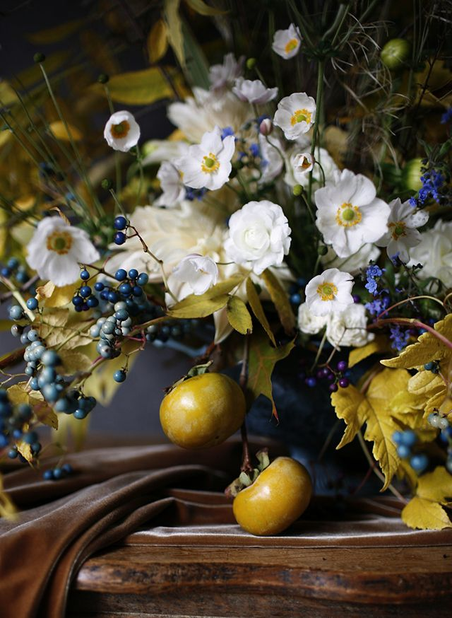 Moody Winter Floral Centerpieces from McKenzie Powell Snippet & Ink