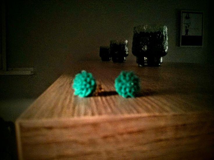 Turquoise chrysanthemum earrings