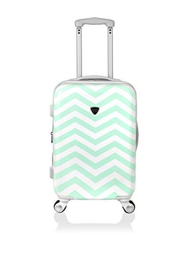 Adorable green chevron hard sided luggage.