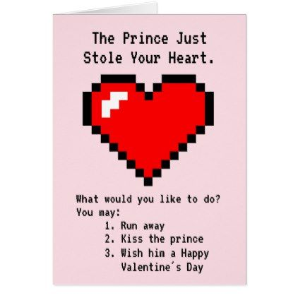 Prince Stole Your Heart - Nerdy Joke Video Game Card - heart gifts love hearts special diy