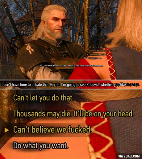 Still my favorite dialogue option of the game (Witcher 3)