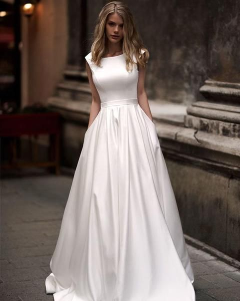 Popular 2018 satin wedding dresses with belt scoop neck modest a popular 2018 satin wedding dresses with belt scoop neck modest a line wedding gowns for brides pinterest vestidos casamento noivados e vestidos de junglespirit Images