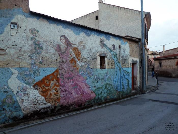 beautiful Street art in Villamar, Sardinia