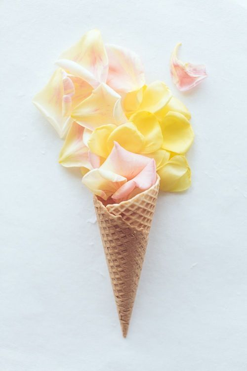 I really like how it isn't the whole flower, its just the petals. Also how they make the petals look like ice cream.