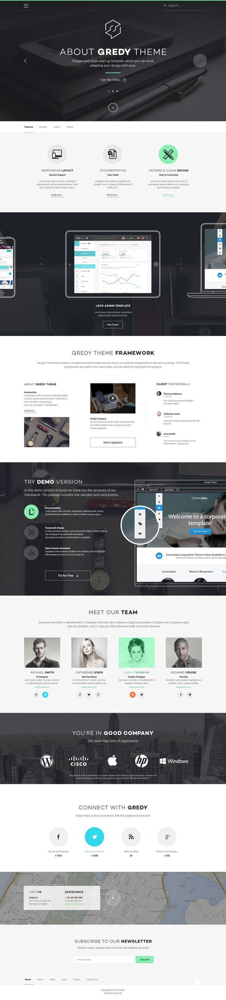 Gredy Psd Startup Template | Psd Web Templates | Pixeden