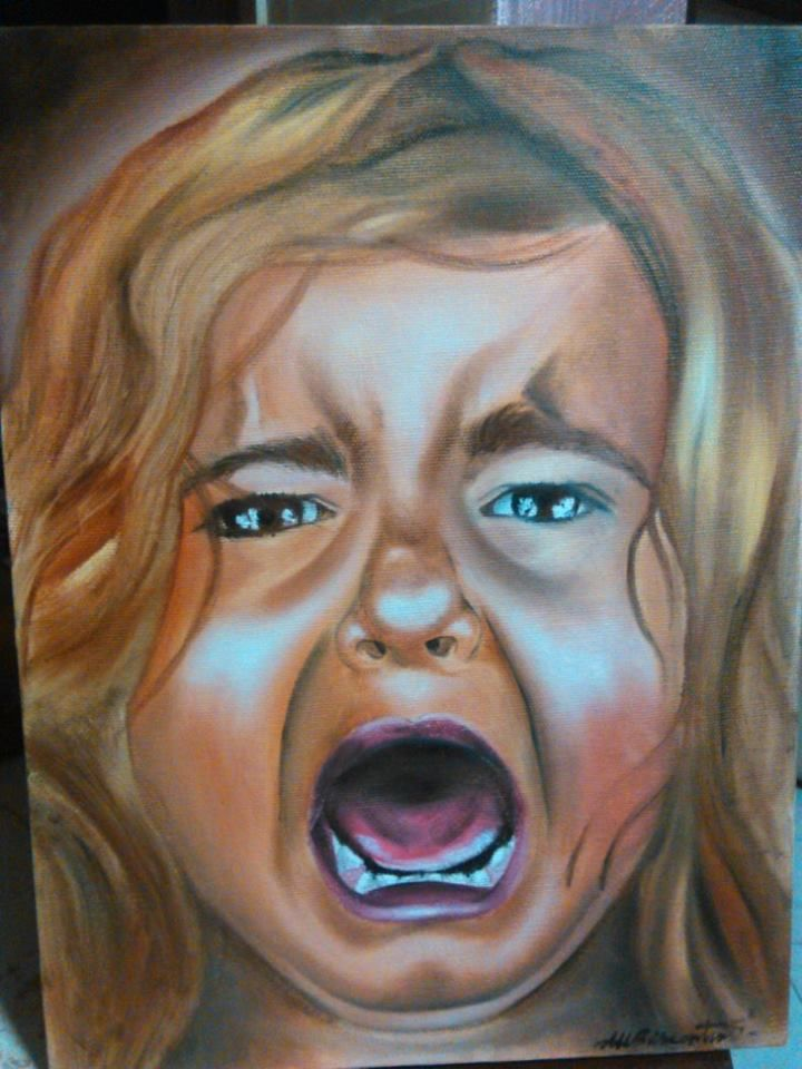 Girl Screaming oil on canvas 30 x 40  #girl #screaming #oil #on #canvas  #colored #baby #crying