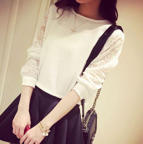 女装2015春装新款韩版蕾丝拼接长袖T恤女百搭显瘦短款打底衫上衣-淘宝网
