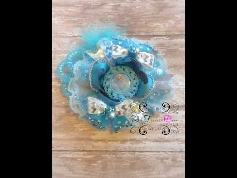 How to make a Frozen (Elsa) inspired hair bow by My Favorite Bows - YouTube