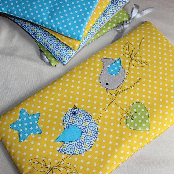 Turno letto / bambino camera uccello e star / grigio giallo turchese verde mela