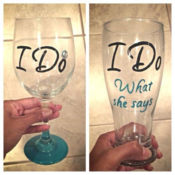 I Do / I Do What She Says duo hand painted wine / beer glasses by SassySipsByMarissa on Etsy