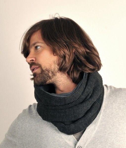 Mørkegråt tube tørklæde med varmt fleece-for