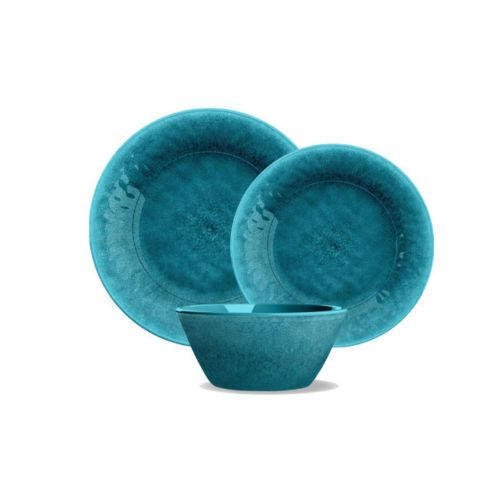 Teal Potters Reactive Glaze Melamine 12 Piece Dinnerware Or Patio Set By  TarHong