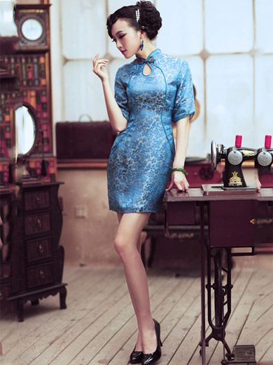 Blue Floral Short Silk Qipao / Cheongsam / Chinese Evening Dress