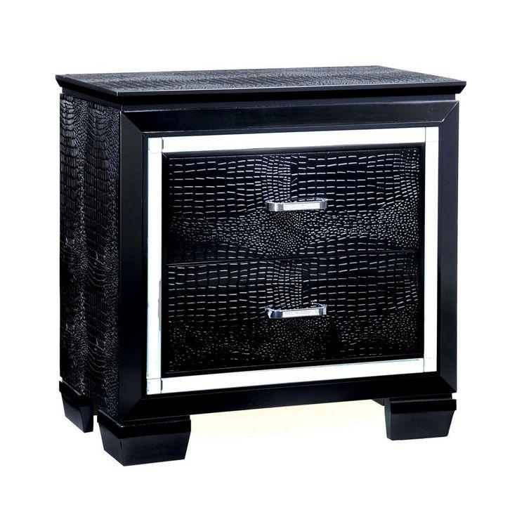 Furniture of america shawn 2drawer black textured