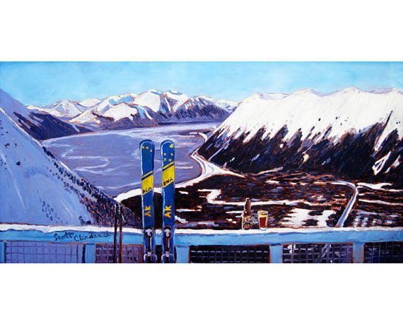 Where my husband proposed.  This was our view!  Alaska Skiing Painting Downhill Skis Art Print by RealArtIsBetter