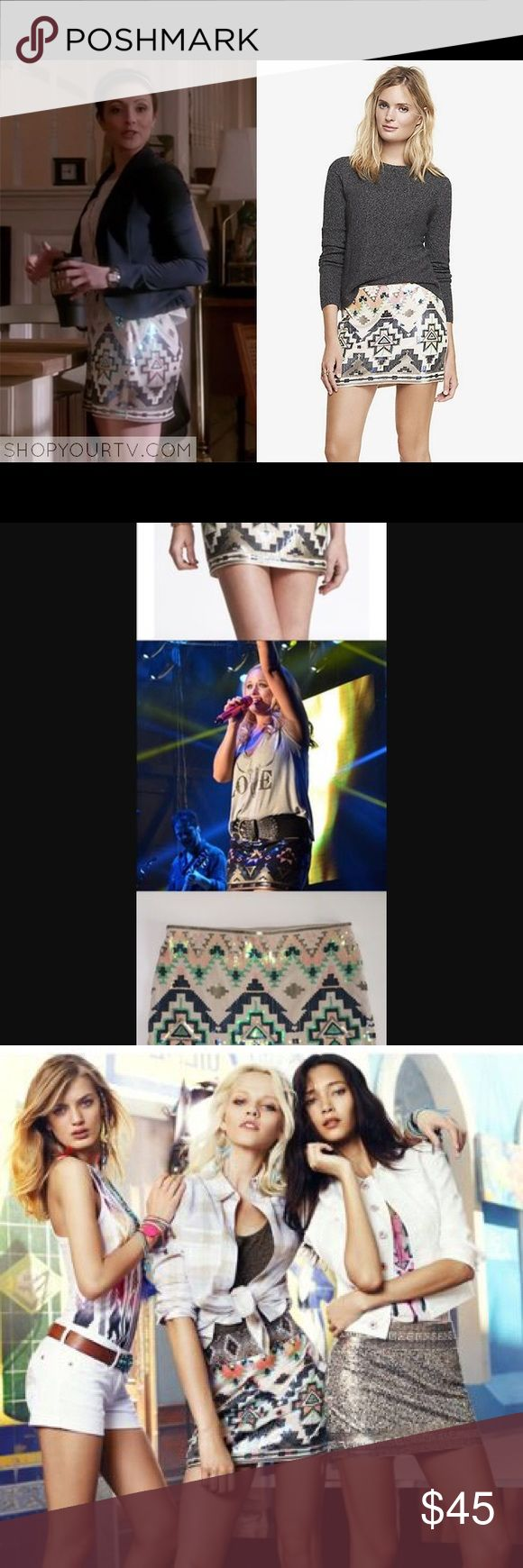 Express Aztec Sequin Mini Skirt ASO bachelorette! This skirt has been ALL over TV! ASO an episode of the bachelorette, chasing life, Miranda lambert... and it is NO SURPRISE! It's stunning, and sold out everywhere. This is like new!  If it is listed it is available ⭐️No trades Authentic  ☀️No Modeling MAJOR BUNDLE DISCOUNTS Express Skirts Mini