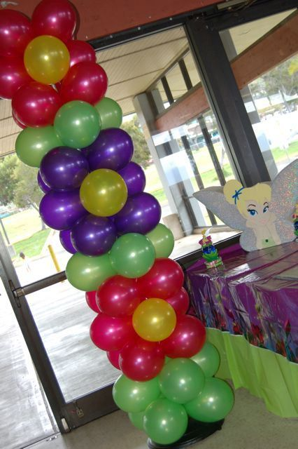 Brookie's Tinkerbell Birthday! Balloon Decorations! (Magenta Pink, Purple, Yellow, Green) | Sweet-Art Designs... Creative ideas from the heart!