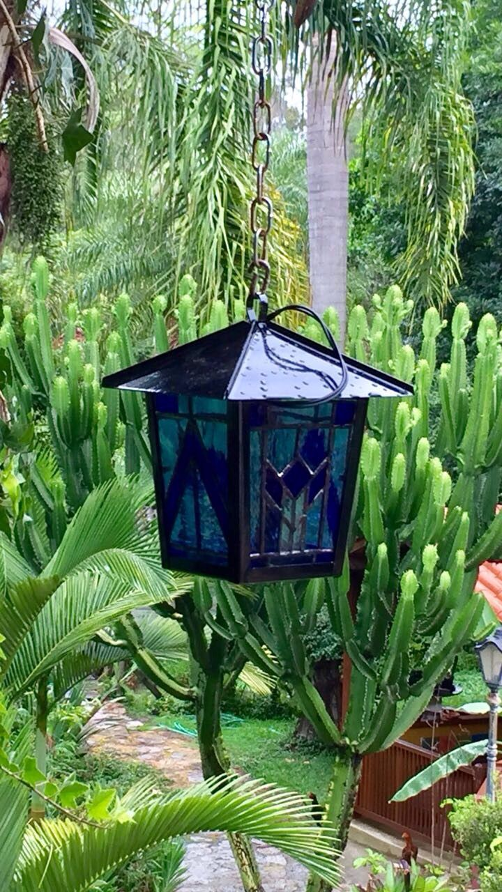 Blue stained glass lantern tiffany modra lucerna