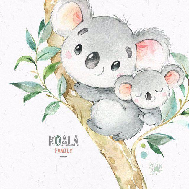 Koala Familie Kleine Tiere Aquarell Clipart Australien