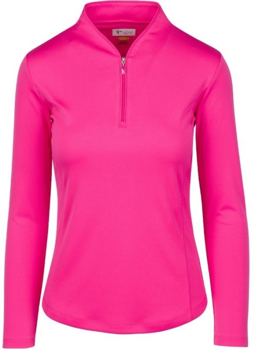 Check out our Pink Taffy ESSENTIALS Greg Norman Ladies & Plus Size Zip L/S Tulip Neck Golf Shirt! Find stylish golf apparel at #lorisgolfshoppe Click through to own this shirt!
