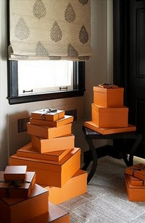Decorating with Hermes boxes - always a good idea.
