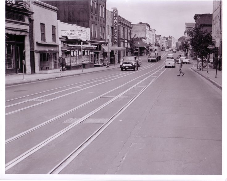 """Wisconsin Avenue, NW, south of O Street at """"rush hour"""" (June 30, 1960).  This cannot be rush hour in Georgetown!"""