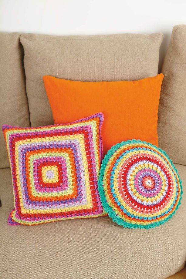 Cushion idea - alterating stitch size to make the roubds tight together.