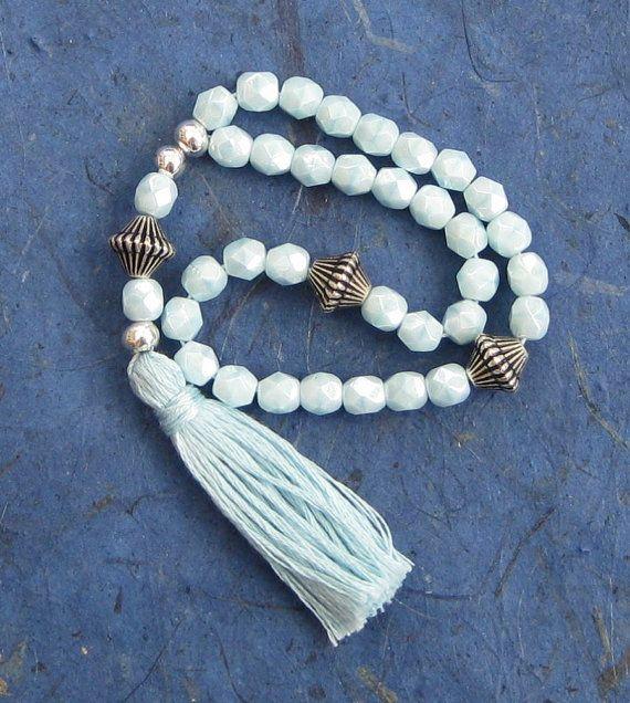 33 prayer beads opaque aqua glass pale blue Sufi Islamic Muslim 6mm beaded tasbih misbaha wrist mala £12