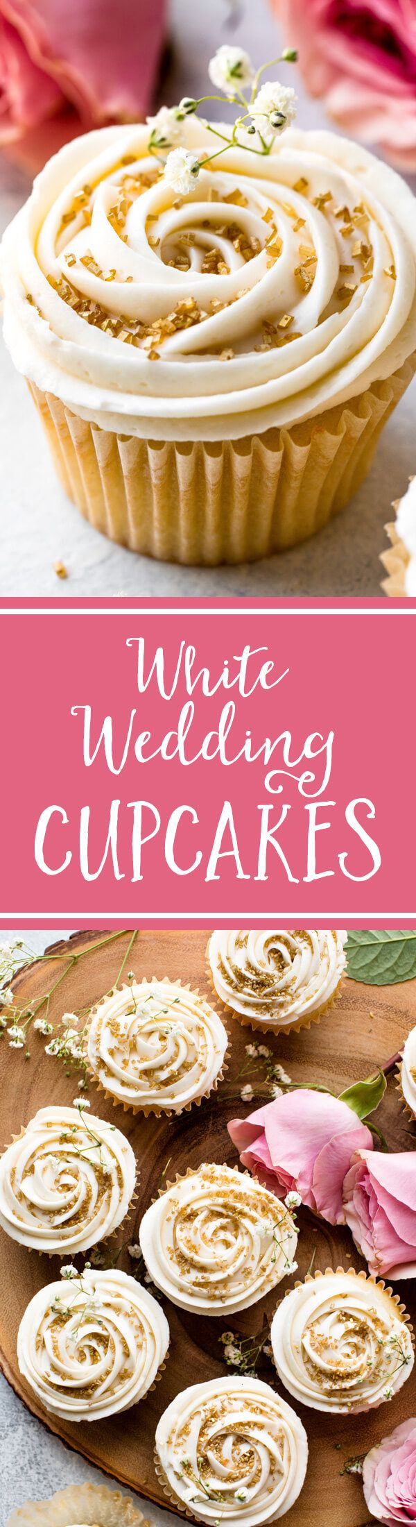 Soft and fluffy vanilla wedding cupcakes topped