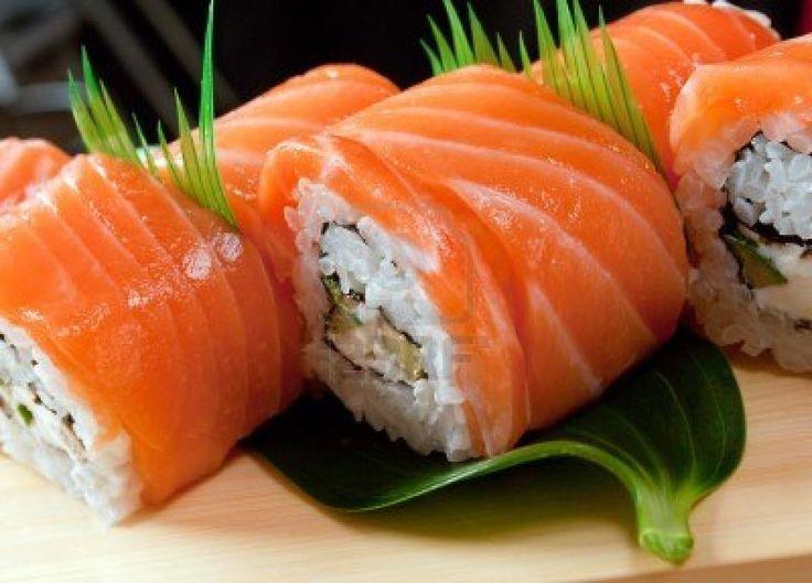 Salmon Sushi Rolls.