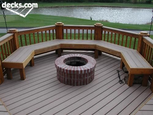 trex deck w firepit lots of seating without all the bulky rh pinterest com