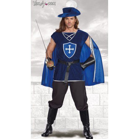 Men's Mighty Musketeer Costume, Size: Men XLarge, Blue