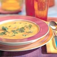 Carrot soup with ginger and coriander