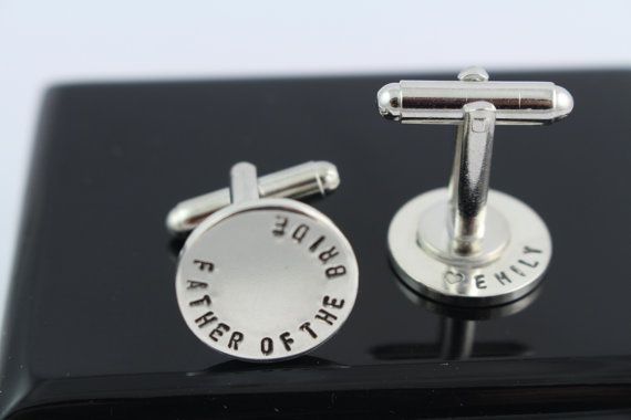 Double Sided Secret Message Father of the Bride Cufflinks - Father's Day - Mens…