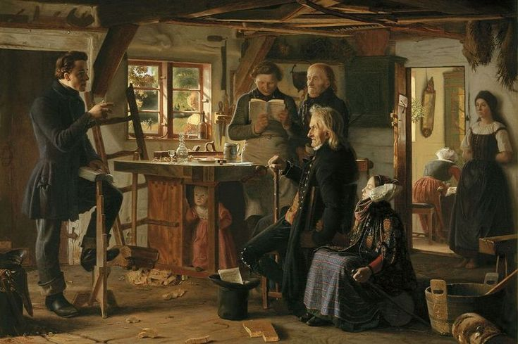 Danish Romantic Painter:  Christen Dalsgaard  'Mormoner på besøg hos en tømrer på landet'  (Mormons visit a country carpenter) - depiction of a Mormon missionary teaching in a Danish carpenter's workshop.  1856