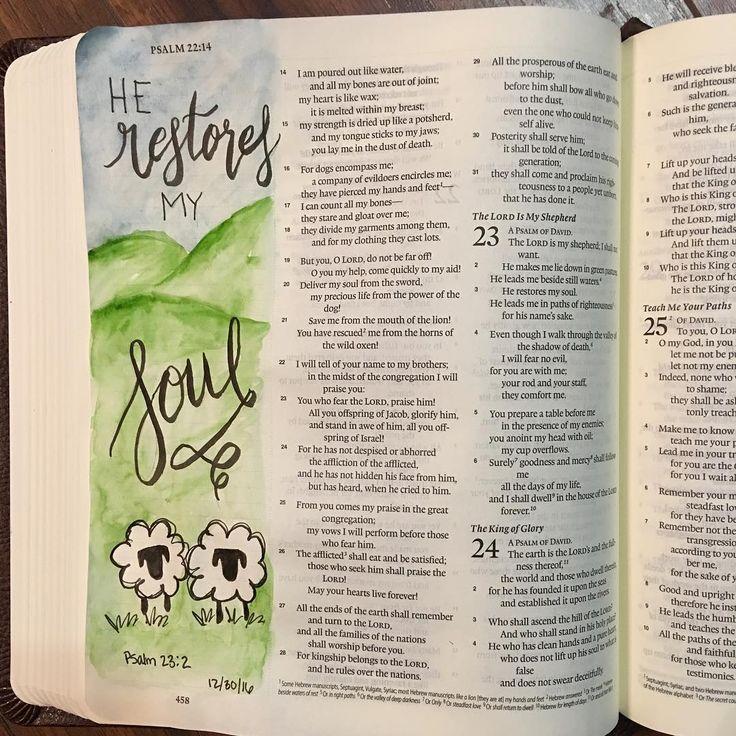 Bible journaling Psalm 23