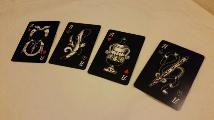 Ombre Oscure playing cards by Rory Rezzelle  - Kickstarter.  FRANCESE Deck - The Aces