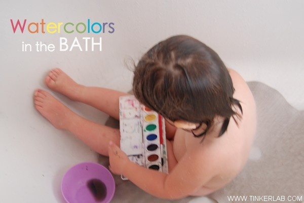 Have you tried watercolors in the bath? Read the post for more creative bath time ideas...: Watercolors, Rubber Duck, Watercolor Bath 035