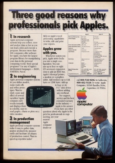 1980 Apple II Computer Photo 'Why Professionals Pick Apples' Print Ad  ...Asking price: $14