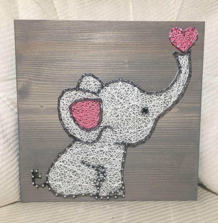 Baby Elephant String Art Sign Nursery decor