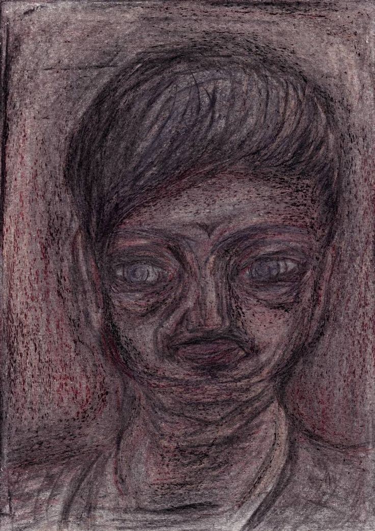 "Drawing: Pastel and Pencil on Paper.   Size: 11.7 H x  8.3 W x  0  in   Pawn ""The Patient"". ""Banana peels on the sidewalk"". A man who deliberately pulls other people in shady projects, which creates serious material or physical damage, loss of reputation to the other person. ""The Patient"" personal losses are much smaller than the dividend for involvement. His part in scheme he hides in a long silence or constant whining."